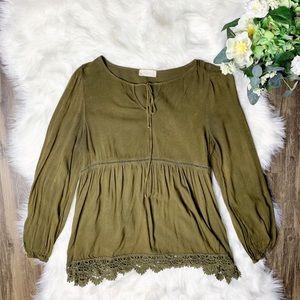 • Altar'd State Peasan Boho Green Shirt •